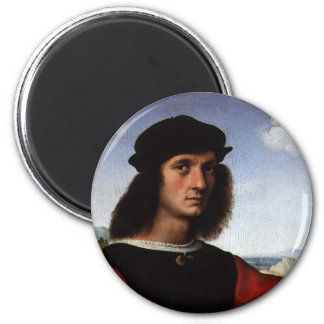 Porträt von Agnolo Doni durch RAPHAEL Sanzio Runder Magnet 5,1 Cm