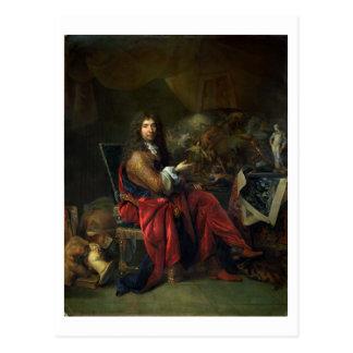 Porträt von Charles Le Brun (1619-90) 1686 (Öl an Postkarte