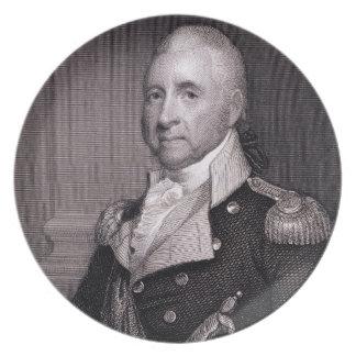 Porträt von Generalmajor-John-Bächen, vorbei gravi Flacher Teller