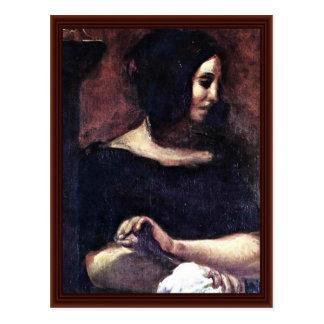 Porträt von George Sand Postkarte