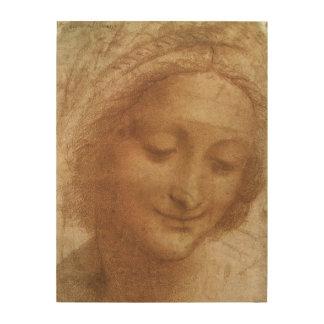 Porträt von Heiliger Anne durch Leonardo da Vinci Holzwanddeko