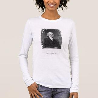 Porträt von James Madison, graviert von William A. Langarm T-Shirt