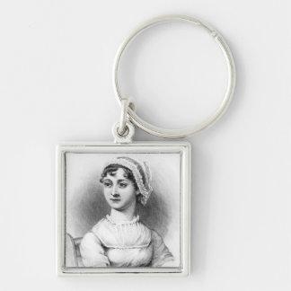 Porträt von Jane Austen Silberfarbener Quadratischer Schlüsselanhänger