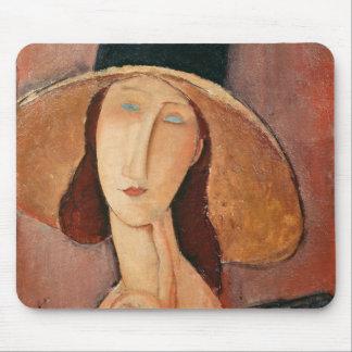 Porträt von Jeanne Hebuterne in einem großen Hut Mousepads