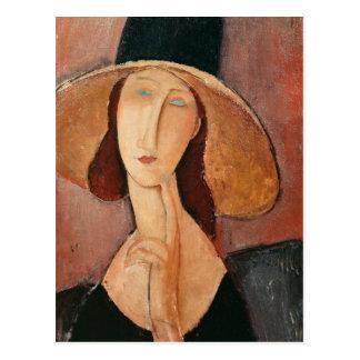 Porträt von Jeanne Hebuterne in einem großen Hut Postkarte