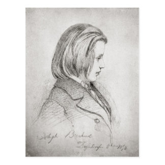 Porträt von Johanes Brahms alterte zwanzig, 1853 Postkarte