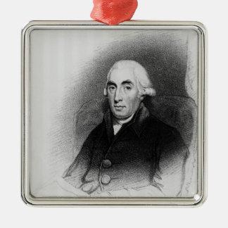 Porträt von Joseph-Schwarzem Quadratisches Silberfarbenes Ornament