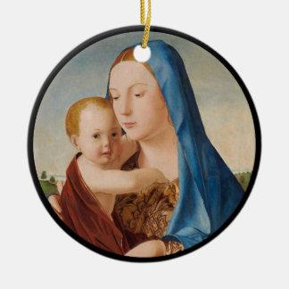 Porträt von Mary Baby Jesus halten Keramik Ornament