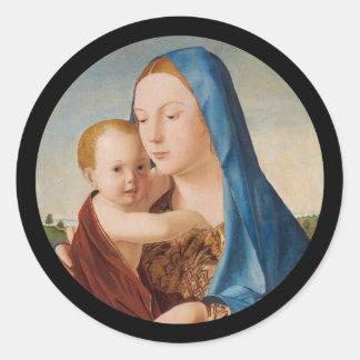 Porträt von Mary Baby Jesus halten Runder Aufkleber