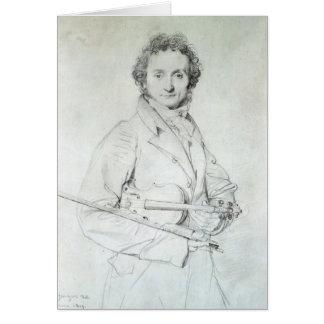 Porträt von Niccolo Paganini 1819 Karte