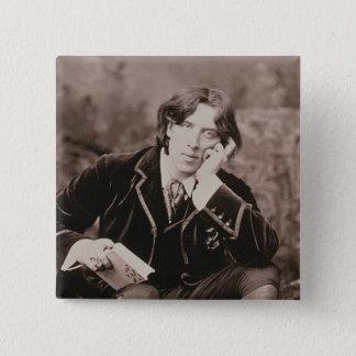 Porträt von Oscar Wilde (1854-1900), 1882 (b/w pho Quadratischer Button 5,1 Cm