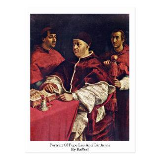 Porträt von Papst Löwe X und Kardinäle durch Postkarte