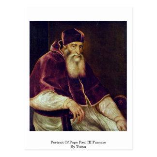 Porträt von Papst Paul Iii. Farnese durch Titian Postkarte