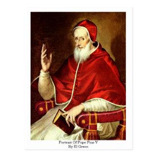Porträt von Papst Pius V. Durch El Greco Postkarte
