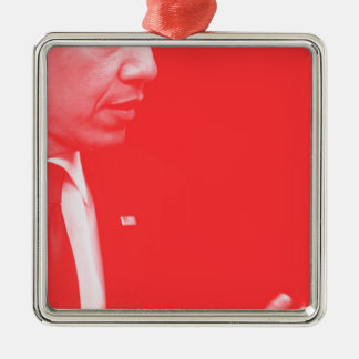 Porträt von Präsidenten Barack Obama 38c Silbernes Ornament