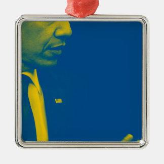Porträt von Präsidenten Barack Obama 38d Silbernes Ornament