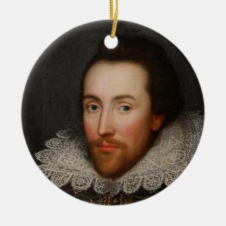 Porträt William Shakespeares Cobbe circa 1610 Rundes Keramik Ornament