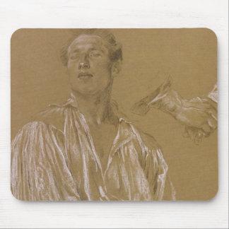Porträtstudie eines Mannes in einem weißen Shirt Mousepad