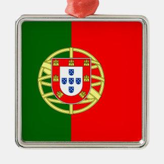 Portugal flage Entwurf Quadratisches Silberfarbenes Ornament