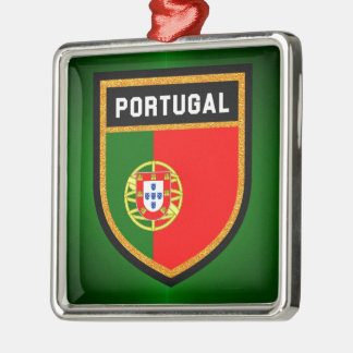 Portugal-Flagge Quadratisches Silberfarbenes Ornament