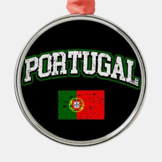 Portugal-Flagge Rundes Silberfarbenes Ornament