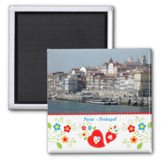 Portugal in den Fotos - Oporto durch den Fluss Quadratischer Magnet