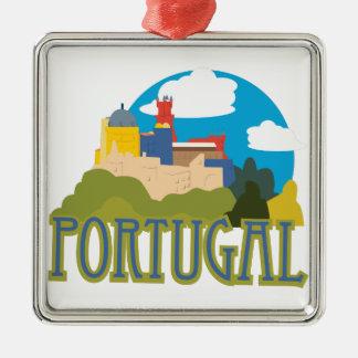 Portugal Quadratisches Silberfarbenes Ornament
