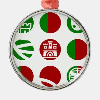 Portugal Symbole Design Rundes Silberfarbenes Ornament