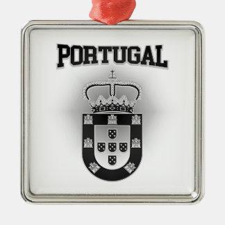 Portugal-Wappen Quadratisches Silberfarbenes Ornament