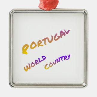 Portugal-Weltland, bunte Textkunst Silbernes Ornament