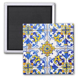 Portugiese Azulejos Keramik-Fliese Quadratischer Magnet