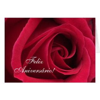 Portugiese: Parabene! Geburtstags-Rose Karte