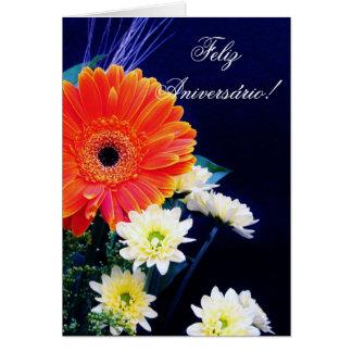 Portugiesische Geburtstagskarte mit Blumen Karte