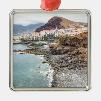 Portugiesische Küste mit Seestrand-Gebirgsdorf Silbernes Ornament