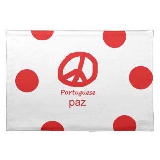 Portugiesische Sprache und Friedenssymbol-Entwurf Stofftischset