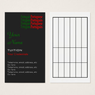 Portugiesische Tutor-Verabredungs-Visitenkarten Visitenkarte