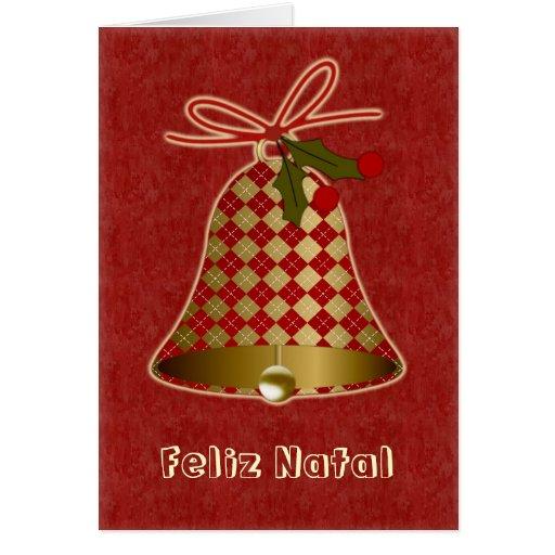 portugiesische weihnachtskarte mit glocke und stec karten. Black Bedroom Furniture Sets. Home Design Ideas