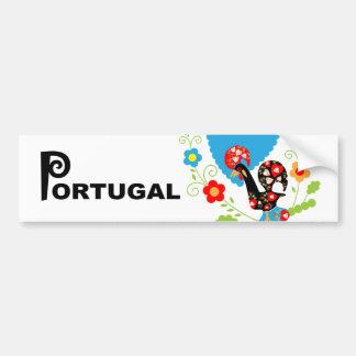 Portugiesischer Hahn des Glückstoßdämpfers Autoaufkleber
