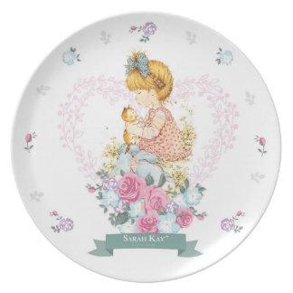 Porzellan-Platte #1 Sarahs Kay Fleur aquamarin Melaminteller