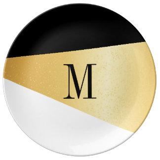 Porzellan-Platte - Asymmetrie-Gold Schwarz-weiß Porzellanteller