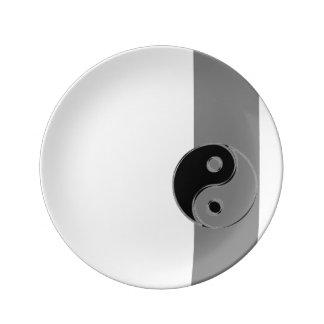 Porzellansockel Yin Yang Noir/Gris Porzellanteller