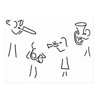 posaunist trompeter blechblaeser postkarte