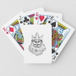 Poseidon, das Trident-Kronen-Holzschnitt trägt Bicycle Spielkarten