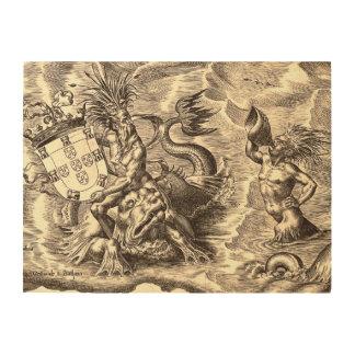 Poseidon und Delphin-Weltkarte Holzdruck