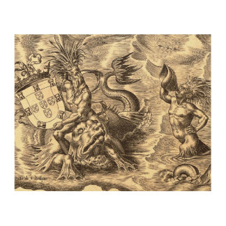 Poseidon und Delphin-Weltkarte Holzleinwand