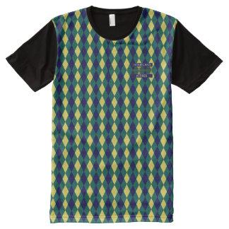 Posh Diamant-blaues Grün-Gelb-modernes Shirt