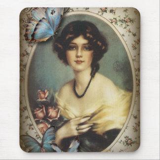 Posh Vintage Schmetterlings-Paris-Dame Fashion Mauspad