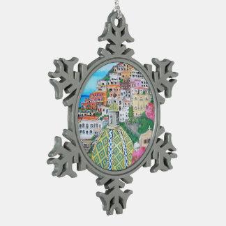 Positano - Zinn-Schneeflocke-Verzierung Schneeflocken Zinn-Ornament