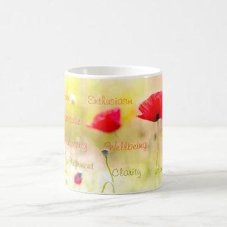 Positiv fasst inspirational Mohnblumen-Blume ab Kaffeetasse