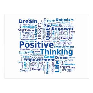 Positive denkende Wort-Wolke - blaue Farben Postkarten